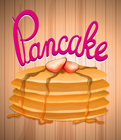 fruit clipart: Layer of pancake and fresh strawberry illustration Illustration