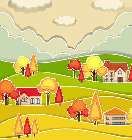 autumn scene: Countryside scene with houses and tree in autumn illustration