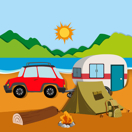Cameground with tent and caravan illustration