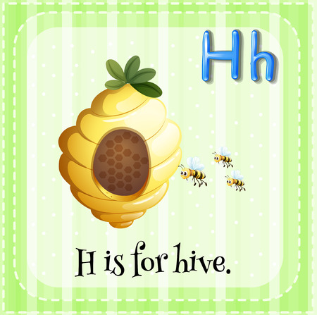 hive: Flashcard letter H is for hive illustration
