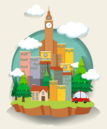 residental: Car and buildings on small land illustration Illustration