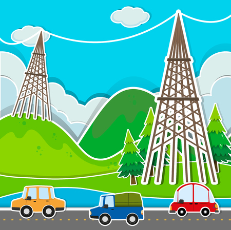 power line: Scene with cars and power line illustration