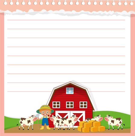 animal border: Paper design with agricultural theme illustration