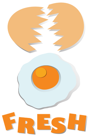 raw egg: Cracking fresh egg with wording illustration