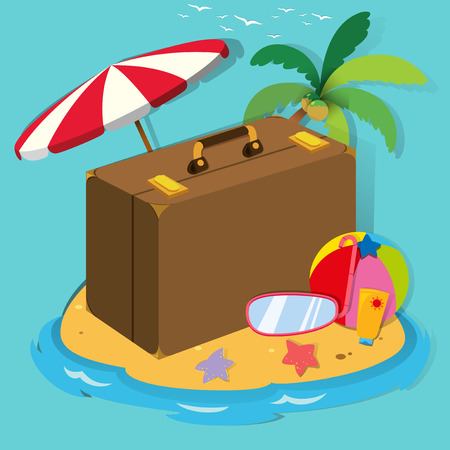 snorkle: Travel objects on the island illustration