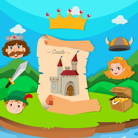 children background: Castle theme with king and princess illustration Illustration