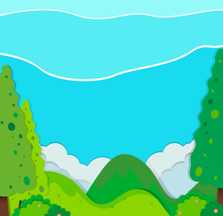 alpine plants: Nature scene with trees and mountains illustration