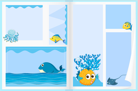 puffer fish: Paper design with sea animals illustration