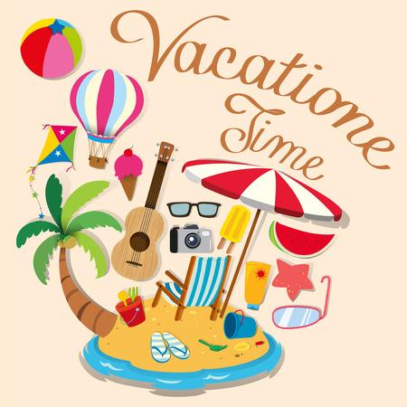 Vakantie thema met eiland en strand objecten illustratie