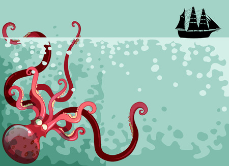giant: Giant octopus under the ocean illustration