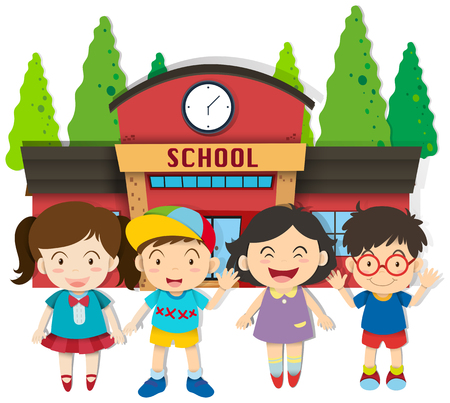 school boys: Boys and girls at school illustration