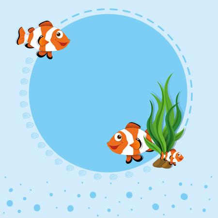 Border design with clownfish illustration Illustration