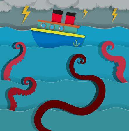 sea monster: Sea monster attacking fighing boat illustration Illustration