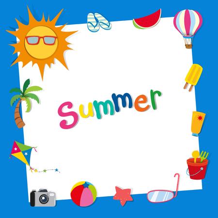 Border design with summer theme illustration
