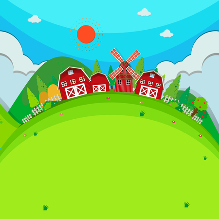 farm land: Farm land with barns and windmill illustration Illustration