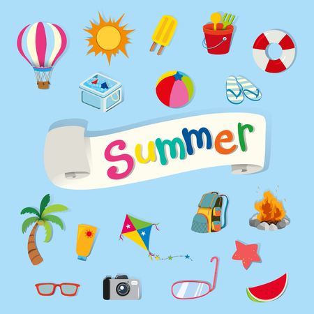 sandles: Banner design with summer objects illustration