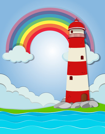 ocean view: Lighthouse by the ocean illustration