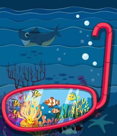 sea animals: Ocean scene with sea animals illustration