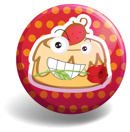 strawberry cake: Strawberry cake on round badge illustration