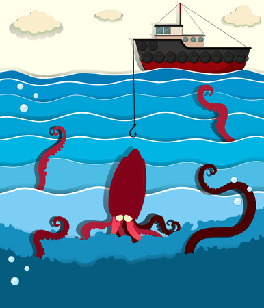barco pesquero: Giant octopus and fishing boat illustration
