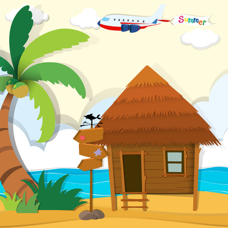 sea background: Cabin on the beach illustration