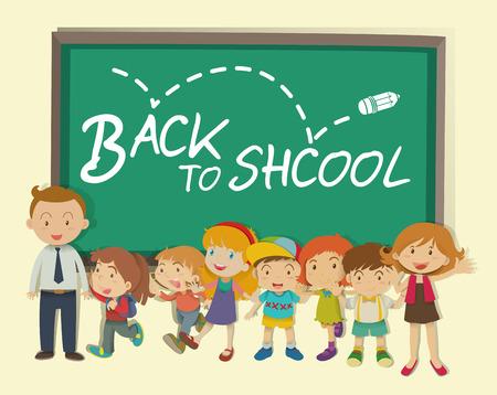 child school: Children and teacher back to school illustration