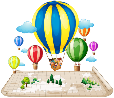 balloon cartoon: Children traveling by balloon illustration