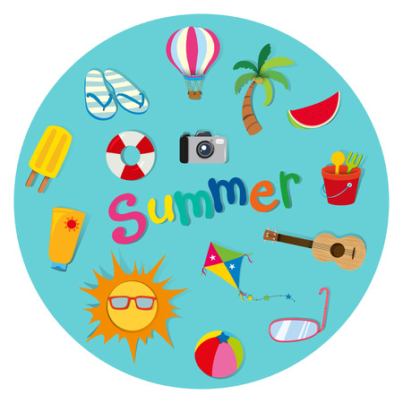 sandles: Summer theme with many objects illustration