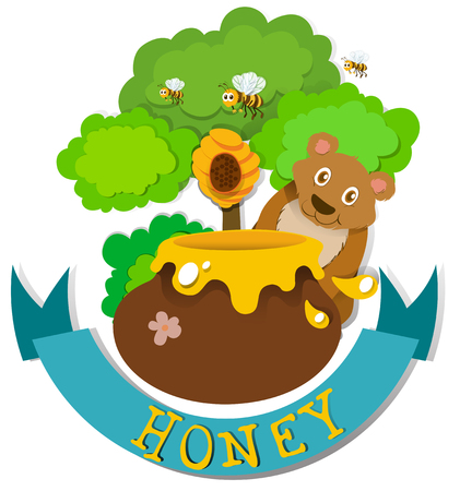 Banner design with bear and honey illustration