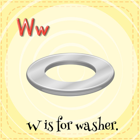 washer: Flashcard letter W is for washer illustration