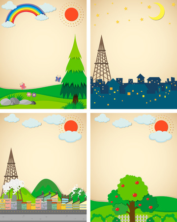 countryside: Scenes from city and countryside illustration
