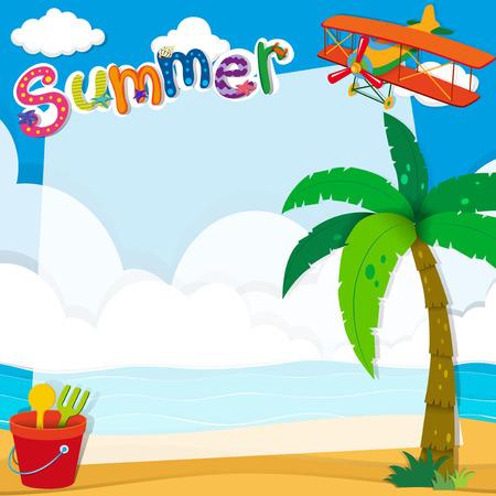 Border-Design mit Sommer am Strand Illustration Standard-Bild - 46957705