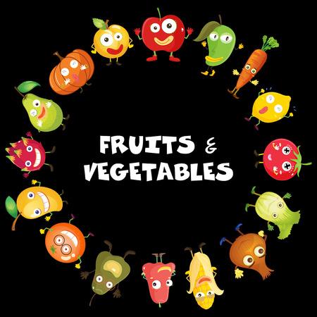 fruit du dragon: Fruits and vegetables with face illustration