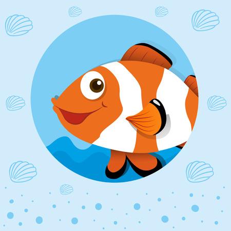 pez payaso: Pez payaso con la cara feliz ilustraci�n
