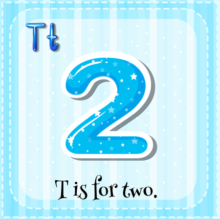 two child: Flashcard alphabet T is for two illustration