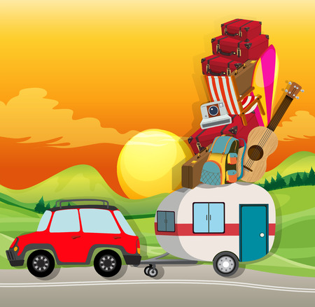 roadtrip: Roadtrip with car loaded with luggages illustration