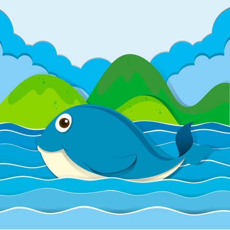 ocean background: Blue whale swimming in the ocean illustration Illustration