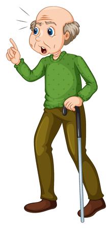Oude man met een boos gezicht illustratie Vector Illustratie