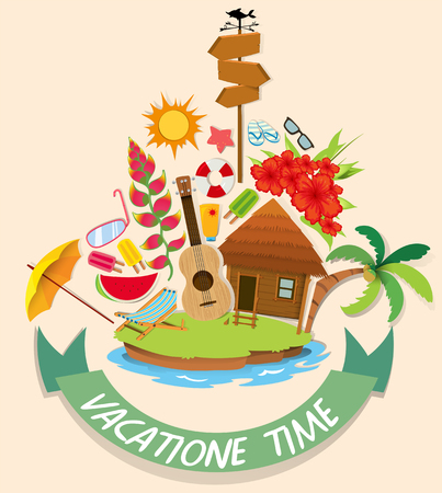 summer beach: Vacation theme with cabin and beach objects illustration