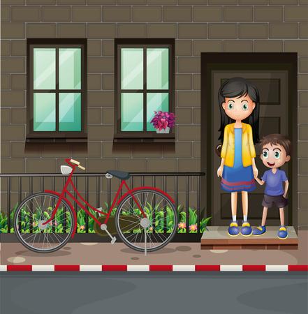 niños en bicicleta: Muchacho y madre en frente de una ilustración de la casa Vectores