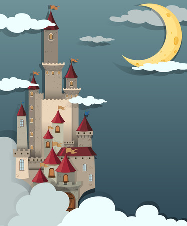 night time: Castle scene at night time illustration Illustration