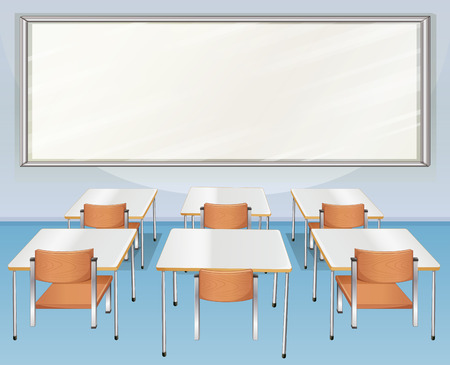 empty chair: Classroom full of chairs and tables illustration