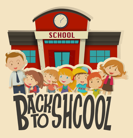 preschool teacher: Teachers and children at school illustration Illustration