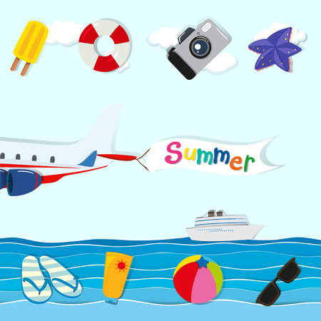 sandles: Summer theme with plane and other objects illustration