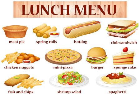 Various kind of food for lunch illustration