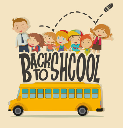 schoolbus: Back to school theme with teacher and pupils illustration