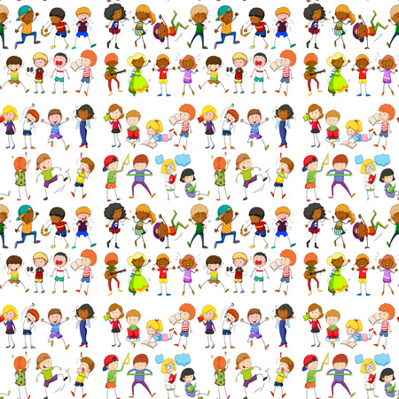Seamless people doing activities illustration Stock Illustratie