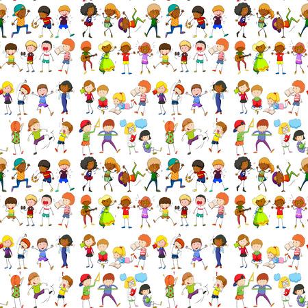 Seamless people doing activities illustration Illustration
