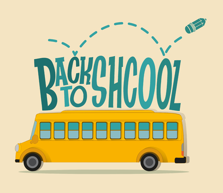 schoolbus: Back to school theme with schoolbus illustration