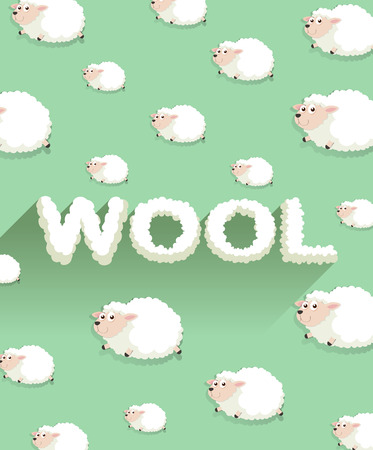 sheep wool: Paper design with sheep in background illustration